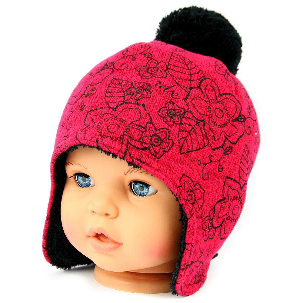 Dětská zimní čepice 3455 červená  1d75fbe823